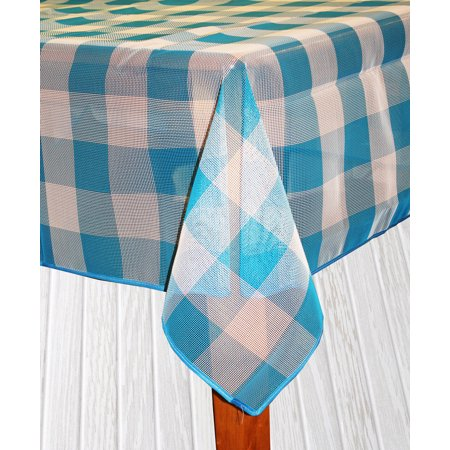 Bistro Check Indoor/Outdoor Table Cloth, Blue