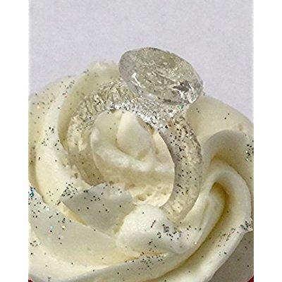 edible sugar diamond ring topper engagement wedding party cake pop cupcake (Diamond Cake Toppers)