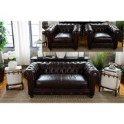 Elements Fine Home Estate Leather Loveseat and Chair Set
