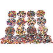 School Smart Classroom Bead Assortment with Elastic Thread and Hook, 30 yd, Assorted Color, Pack of 3300