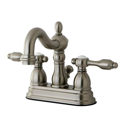 "Kingston Brass Tudor 4"" Center Lavatory Faucet With Brass Pop-Up"