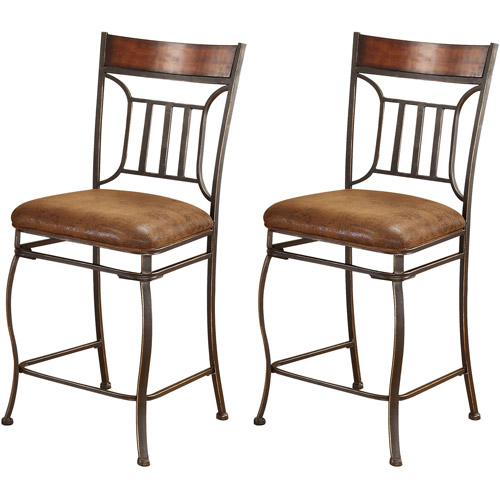 Acme Peru Counter Chair, Set of 2, Saddle