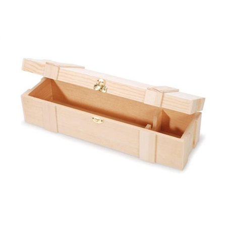 Darice Hinged With Clasp Unfinished Wooden Wine Box - Clothing Gift Boxes