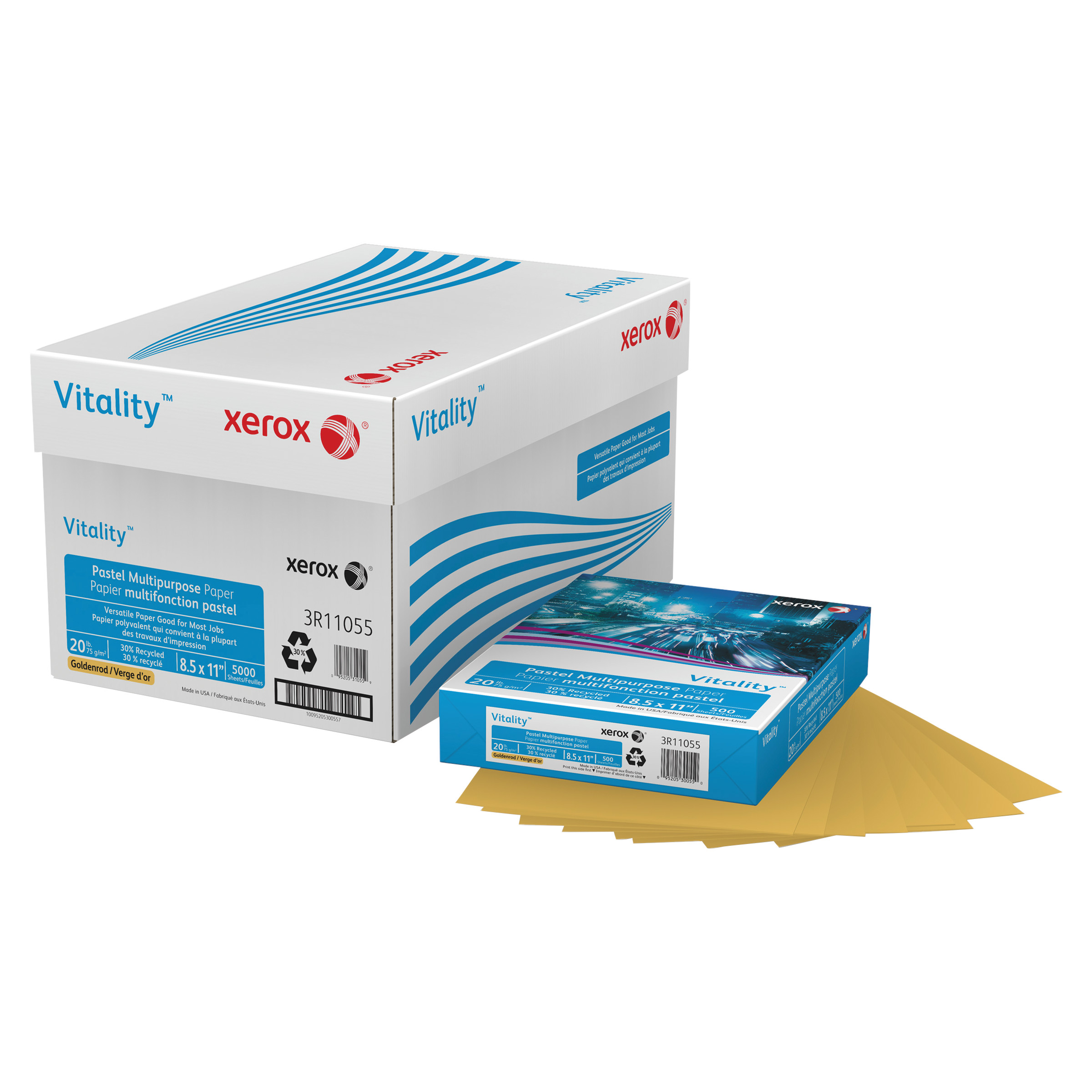 Xerox Vitality Pastel Multipurpose Paper, 8 1/2 x 11, Gold, 500 Sheets/RM -XER3R11055