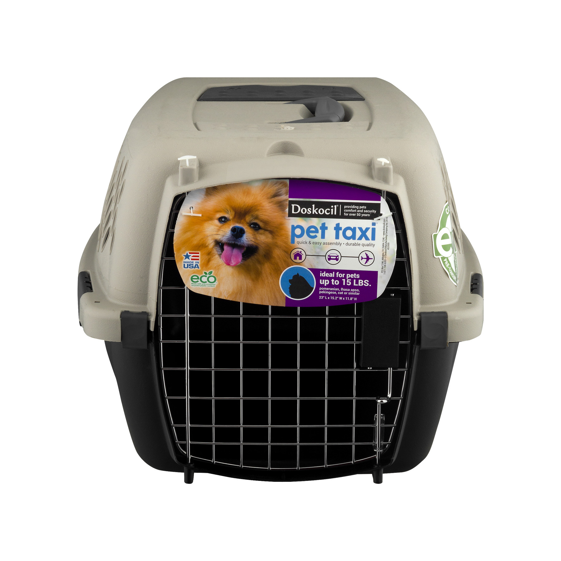 "Dosckocil Pet Taxi 23"" Pet Carrier, Extra Small, Beige"