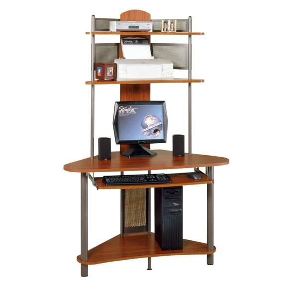 A-Tower Computer Desk w Hutch in Pewter & Cherry Finish