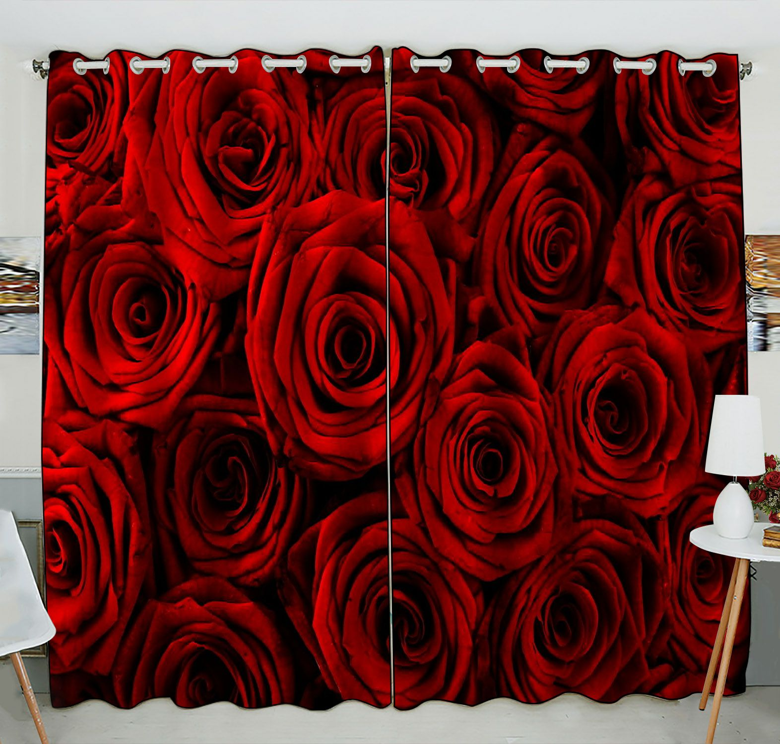 ZKGK Red Rose Flower Floral Pattern Window Curtain Drapery/Panels/Treatment For Living Room Bedroom Kids Rooms 52x84 inches Two Panel