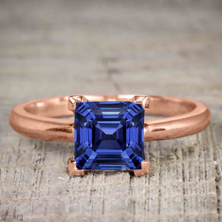 1 Carat Princess cut Real Sapphire Solitaire Engagement Ring in Silver with Rose Gold Plating