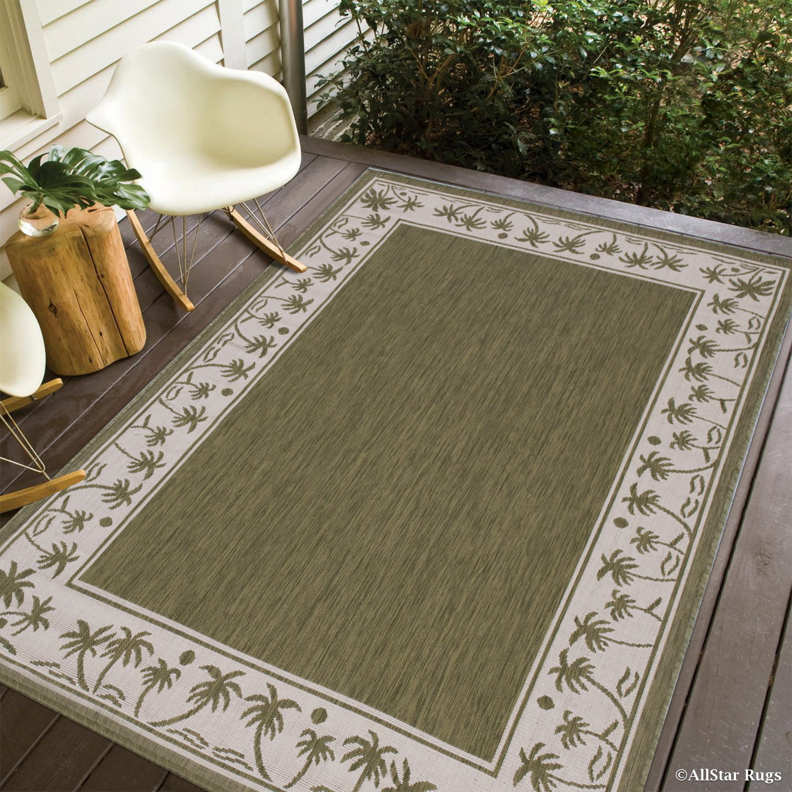 """Green Allstar Indoor Outdoor All Weather Rug with Palm Tree Patterns (4' 11"""" x 6' 12"""") by"""
