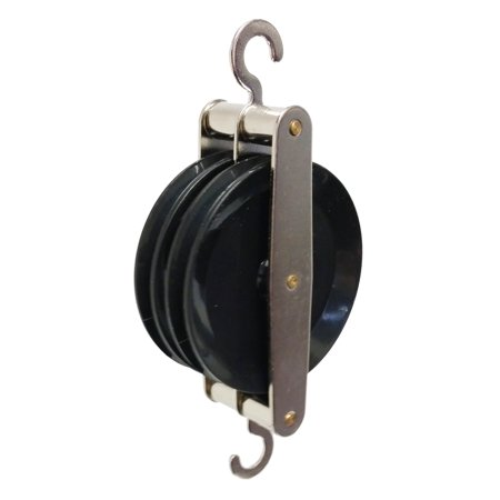 GSC International 4-16062 Double Parallel Pulley, Black Plastic
