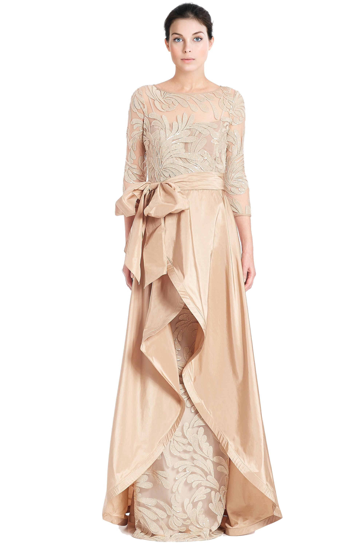 Teri Jon Bead Embellished 3/4 Sleeve Evening Gown Dress - Walmart.com