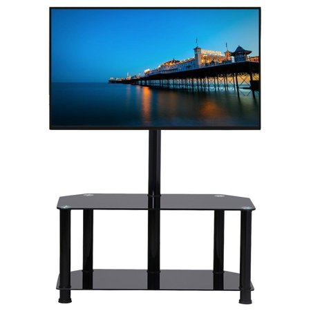 2 Tier Black Swivel Cantilever Tv Stand Mount Glass Media Console