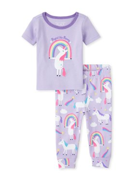 The Children's Place Baby Toddler Girl Short Sleeve Pajamas, 2pc Set