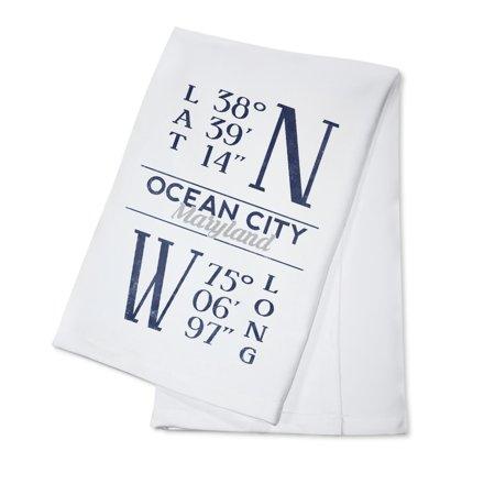 Ocean City, Maryland - Latitude & Longitude (Blue) - Lantern Press Artwork (100% Cotton Kitchen Towel)
