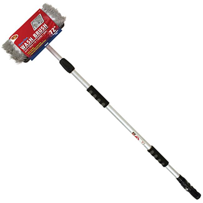 "Detailer's Choice 4B360 Tri-Level Flow-Thru Wash Brush with 72"" Telescoping Handle"