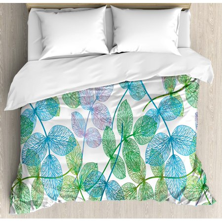 Floral Duvet Cover Set Flowers Leaves Ivy Vein Like Rainbow Ombre Colored Art Print Decorative Bedding Set With Pillow Shams Pale Blue Fern Green