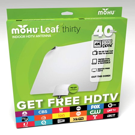 - Leaf 30 Indoor HDTV Antenna, 40 Mile Range, Original Paper-thin, Reversible, Paintable, 4K-Ready, 10 Foot Detachable Cable, Premium Materials for Performance,.., By Mohu