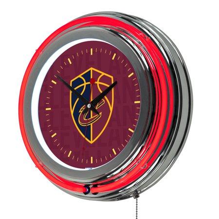 NBA Chrome Double Rung Neon Clock - City - Cleveland Cavaliers