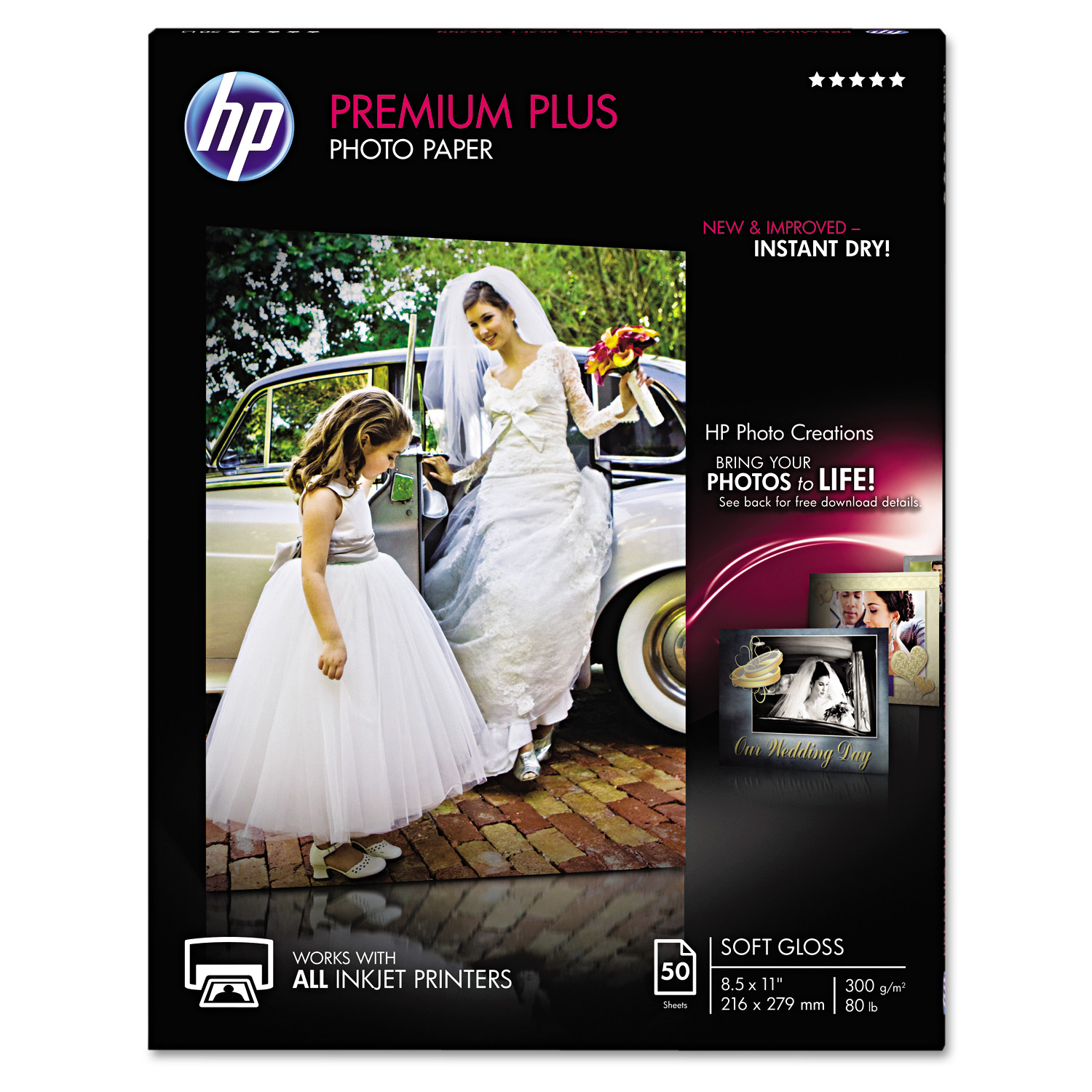 HP Premium Plus Photo Paper, 80 lbs., Soft-Gloss, 8-1/2 x 11, 50 Sheets/Pack -HEWCR667A