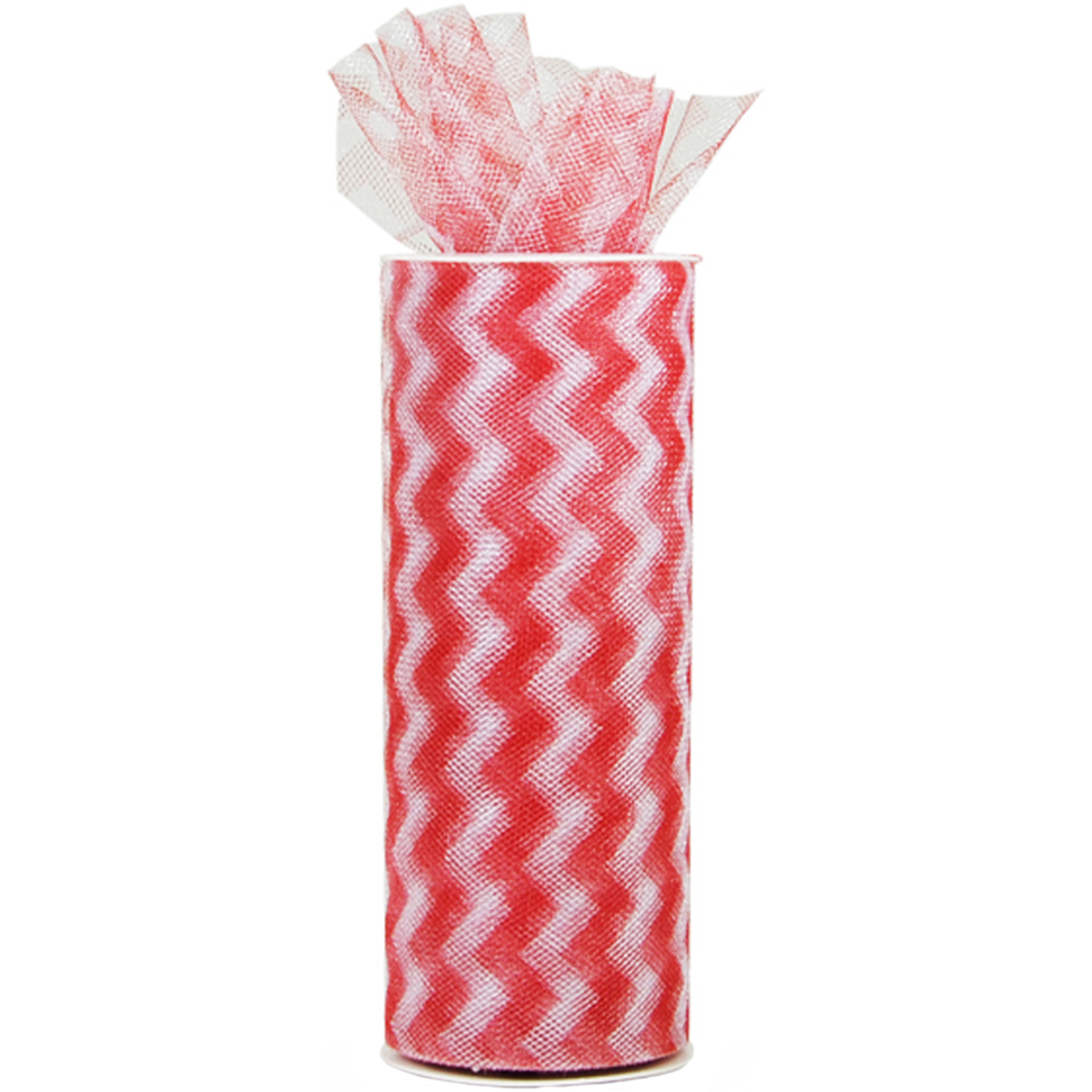 "Chevron Zig Zag Printed Tulle, 6"" x 10 yd Spool, Red"