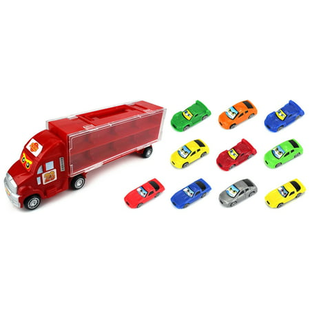 Mini Toy Cars (Race Car Semi Trailer Transporter Children's Toy Vehicle Playset with 10 Mini Toy Cars (Colors May)