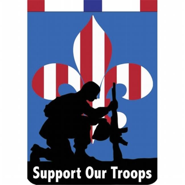 Dicksons Jozie B 302 Support Our Troops Fleur De Lis Double Applique House Flag, Large