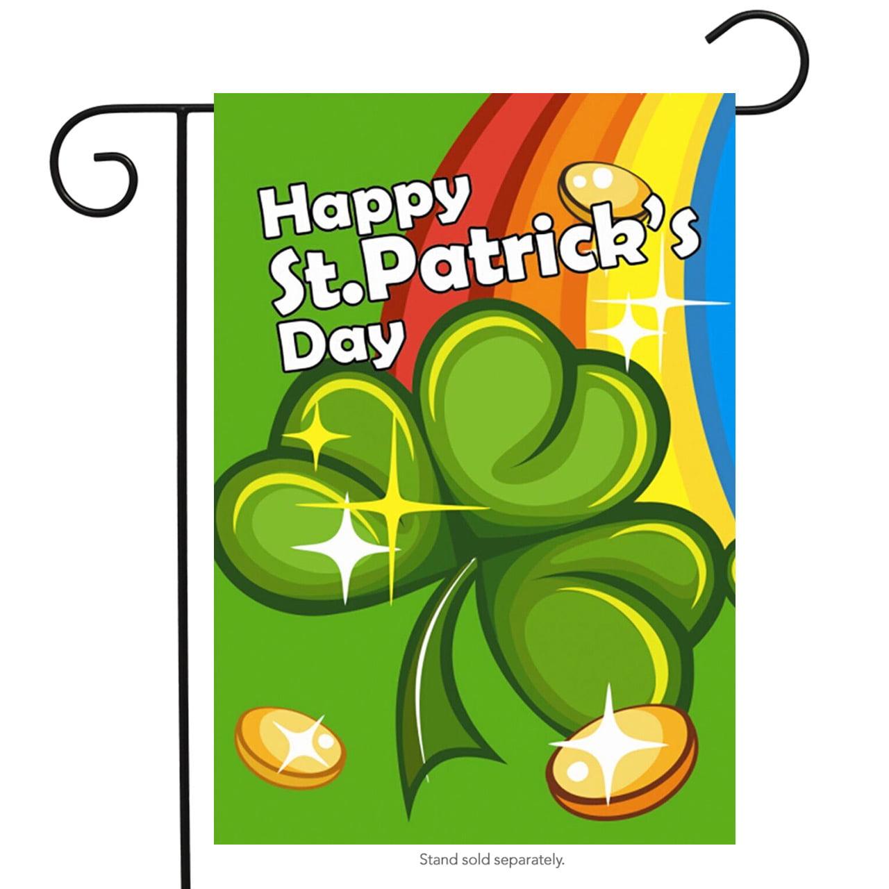 "St. Patrick's Day Rainbow Garden Flag Shamrock Coins 12.5"" x 18"" Briarwood Lane"