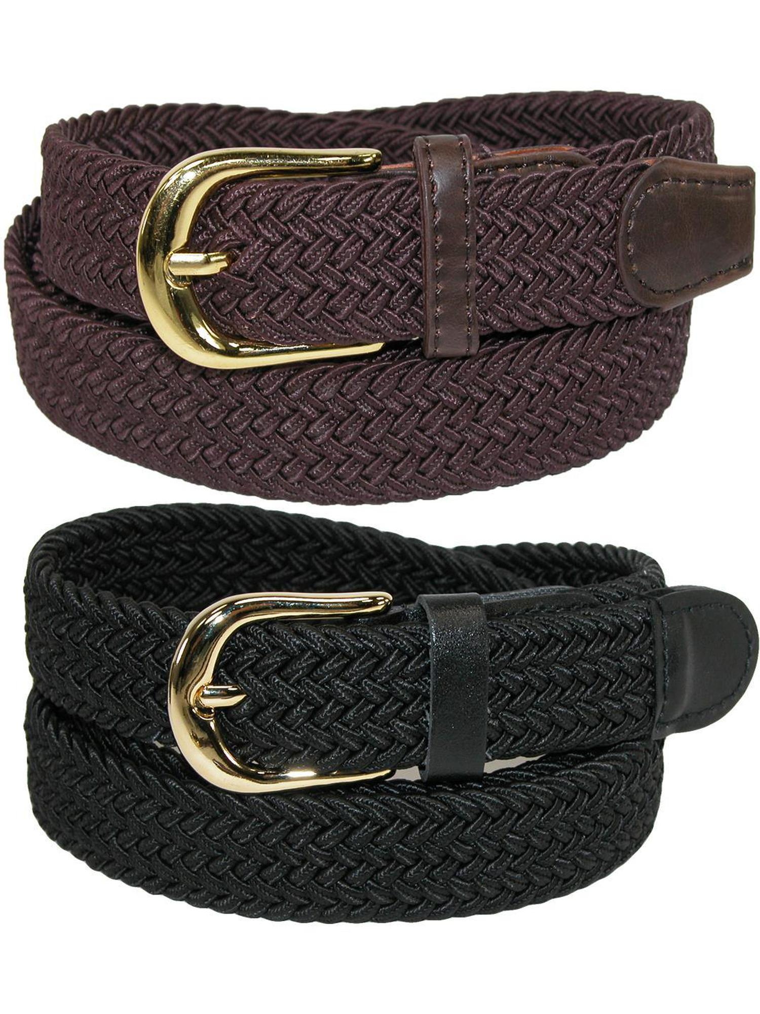 Women's Elastic Braided Stretch Belt (Pack of 2 Colors)