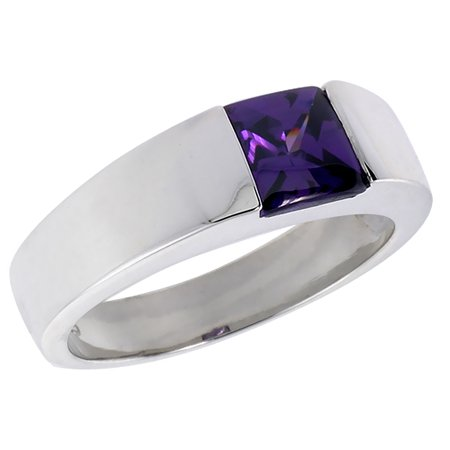 Mens Sterling Silver Amethyst Cz Solitaire Ring Princess Cut 2 Ct Size  Sizes 8 To 13