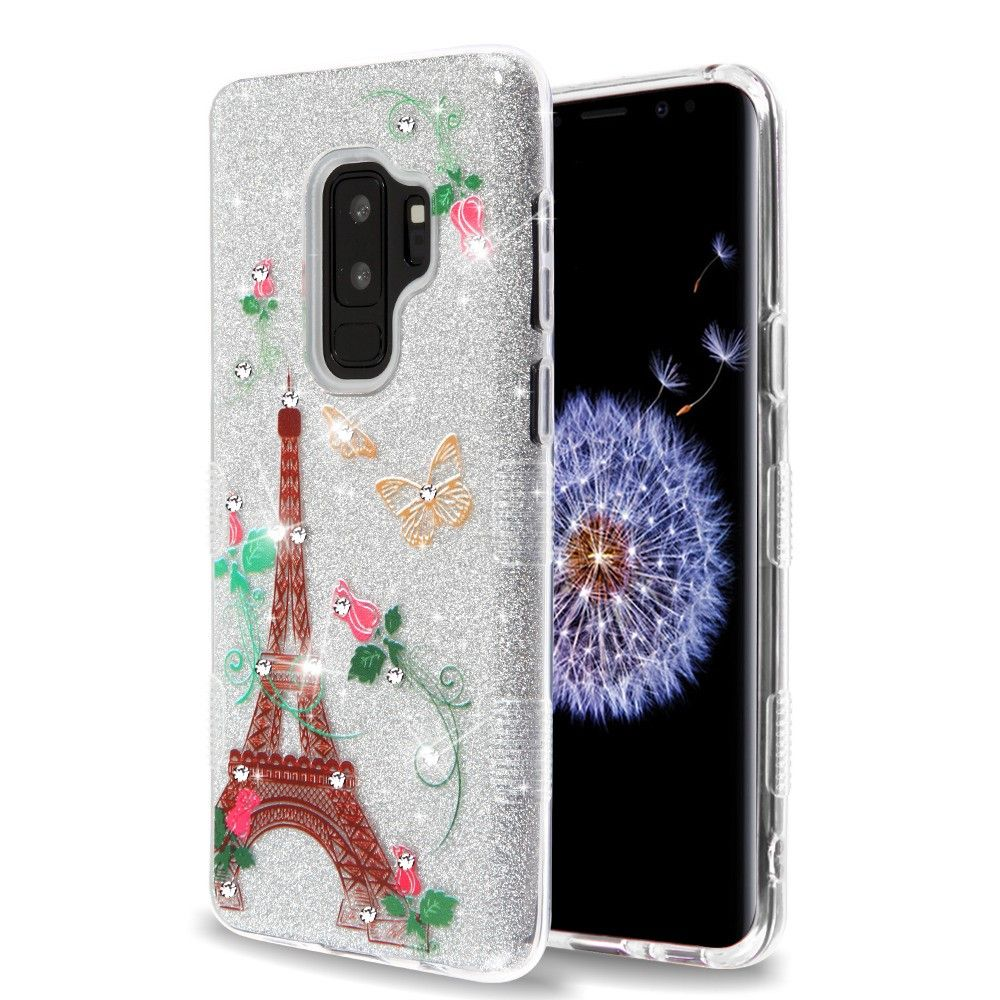 Samsung Galaxy S9 Plus Case, by Insten Tuff Butterflies Dual Layer [Shock Absorbing] Hybrid Glitter Hard Plastic/Soft TPU Rubber Case Cover With Diamond For Samsung Galaxy S9 Plus S9+, Multi-Color - image 5 de 5