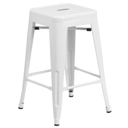 High Square Backless Metal - Flash Furniture 24