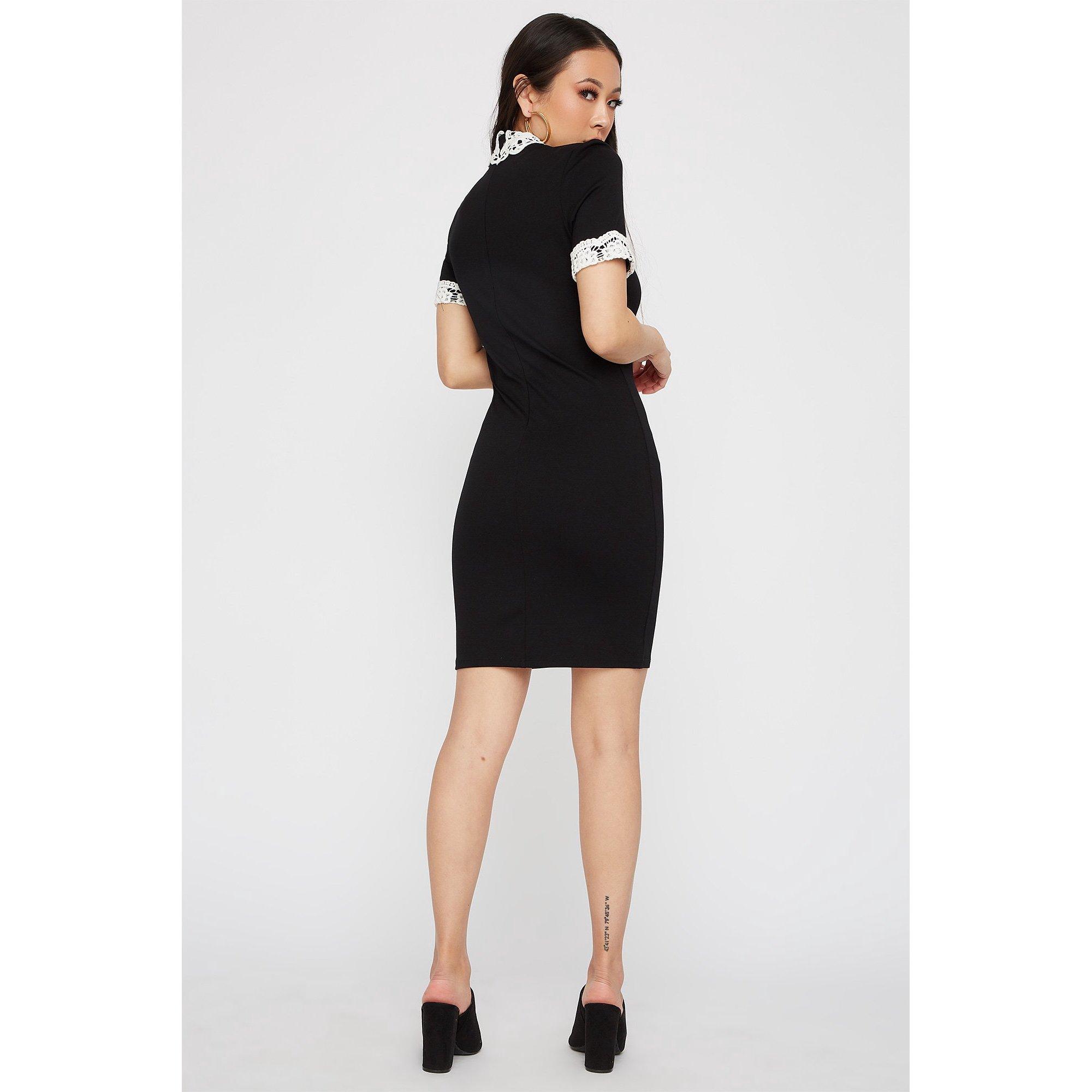 0504ba5f75e7 Black Lace Short Sleeve Mini Dress - raveitsafe
