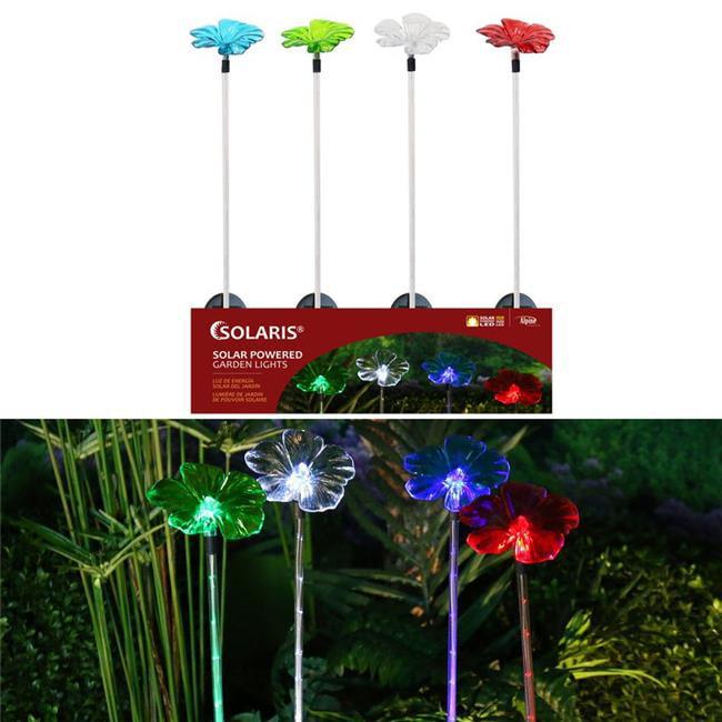 Alpine 8015838 Assorted Color Flower Petal with Fiber Optic Solar Garden Stake - Pack of 16