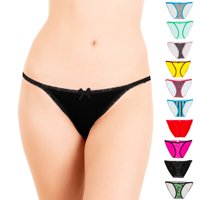 Alyce Intimates Womens Cotton String Bikini, Pack of 10