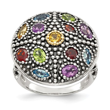 Roy Rose Jewelry Sterling Silver with 14K Yellow Gold Antiqued Multi Gemstone Ring Size 6