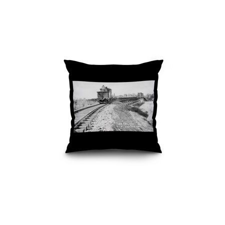 Oroville, California - Northern Electric Railway Train View (16x16 Spun Polyester Pillow, Black Border)