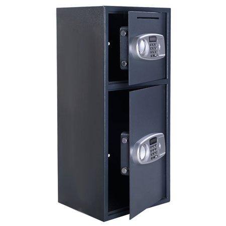 Double Door Digital Safe Depository Drop Box Safes Cash Office Security Lock