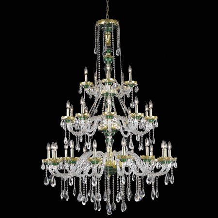 Elegant Lighting 7810G45GN-EC 45 Dia. x 62 H in. Alexandria Collection Large Hanging Fixture - Green Finish, Elegant Cut