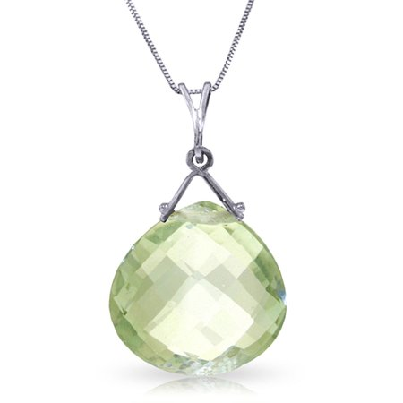 ALARRI 8.5 Carat 14K Solid White Gold Love Like Ballet Green Amethyst Necklace with 20 Inch Chain Length.