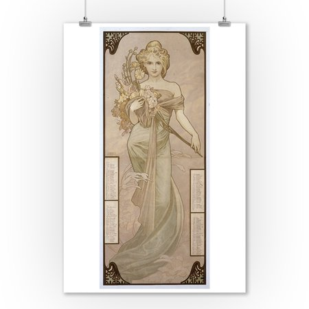 Seasons - Winter - 1902 Czech Calendar Vintage Poster (artist: Mucha, Alphonse)  c. 1900 (9x12 Art Print, Wall Decor Travel Poster) Vintage Czech Art