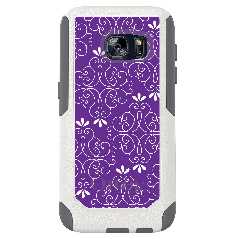 DistinctInk™ Custom White OtterBox Commuter Series Case for Samsung Galaxy S7 - Purple White Floral