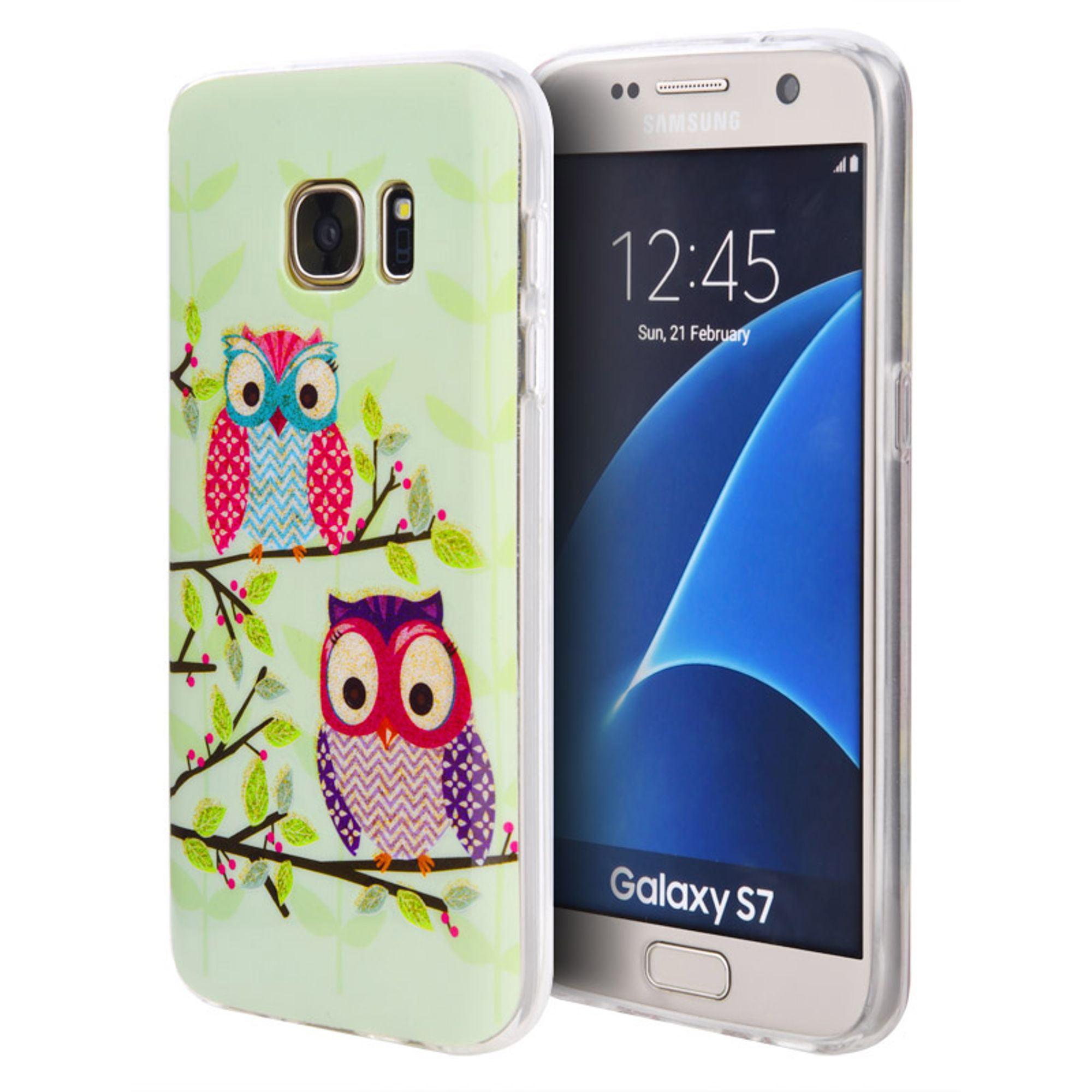 Insten Owl TPU IMD Rubber Skin Gel Back Shell Case For Samsung Galaxy S7 - Green/Pink