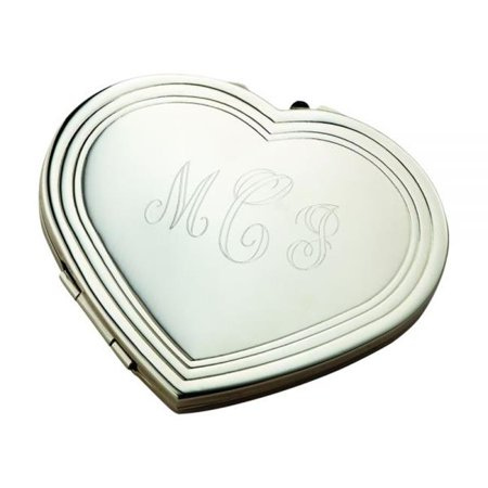 2.25 x 2 in. Silhouette Heart Compact, Nickel Plated - (Silver Heart Compact)