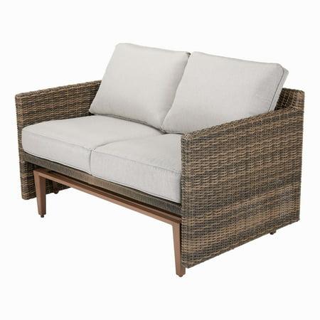 Better Homes & Gardens Davenport Patio Wicker Glider Loveseat with Beige Cushions