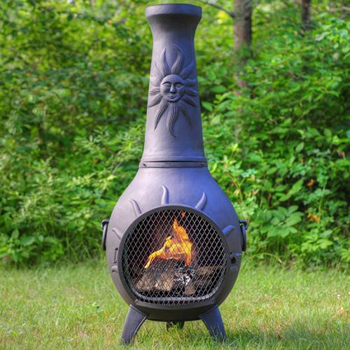 Outdoor Chiminea Fireplace Sun in Charcoal Finish (Without Gas) by The Blue Rooster