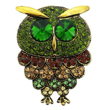 Vintage Style Multicolor Crystal Owl Bird Pin Brooch