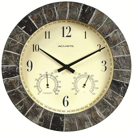 Acurite 14 Quot Indoor Outdoor Faux Slate Wall Clock Walmart Com