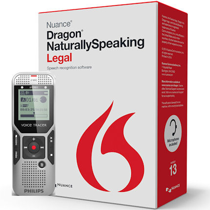 Nuance 363322 Dragon NaturallySpeaking Legal Version 13 Speech Recognition Software with Philips 4GB Expandable Digital Voice Tracer