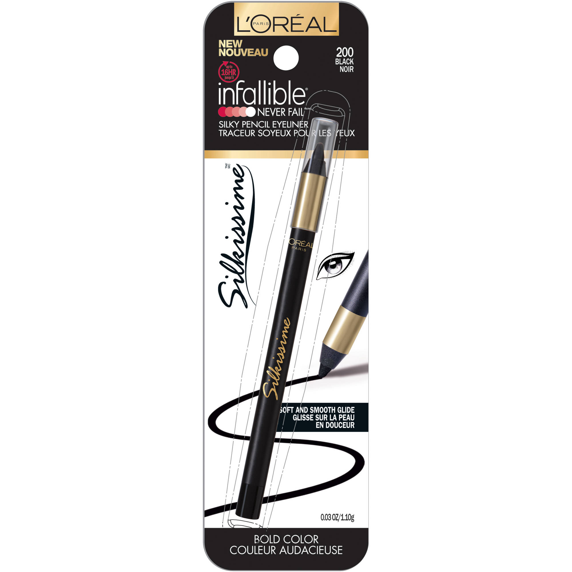 L'Oréal Paris Infallible Eye Silkissime Eyeliner, Black, 0.03 Oz (Packaging May Vary)