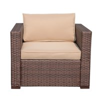 Outdoor Patio Chairs All Weather Rattan Wicker Patio Single Chair,Beige Removable Cushions,Steel Frame